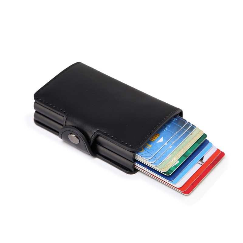 Men Business Credit Card Holder Wallet Unisex double Metal Blocking RFID Wallet ID Card Case Aluminium Travel Purse