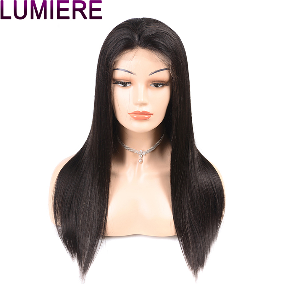 Lumiere Hair 13X6 Lace Front Human Hair Wigs Indian Straight Lace Front Wig Pre Plucked With Baby Hair For Women Remy 1B 150%