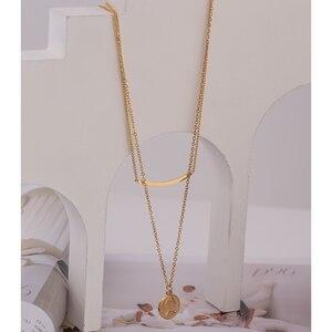Yhpup Trendy Porträt Münze Layered Anhänger Halskette für Frauen Edelstahl Collane Donna Erklärung Schmuck Bijoux Femme 2020