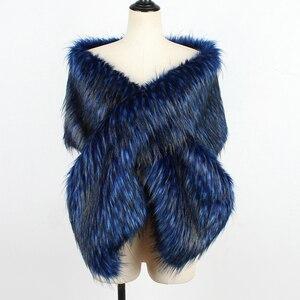 Image 4 - Fashion New Women Autumn Winter Faux Fur Bridal Shawl Scarve & Wraps Warm Ladies Sexy Plush Scarf For Wedding Party Wedding Cape
