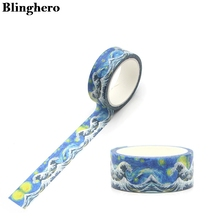 Blinghero 15mmX5m Kanagawa Wave cool Washi Tape Paper DIY Decorative Adhesive Tape Stationery cartoon Masking Tapes ZC0075