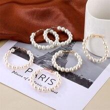 Fashion Big Hoope Earrings For Women Pearl Crystal Geometric Earrings Statement Vintage Punk Glamour Earring Jewellery