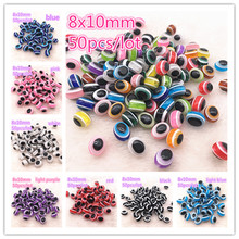 NEW 50PCS 8x10mm Charms Beads Oval Evil Eye Resin Stripe Spacer For Jewelry Making DIY Bracelet