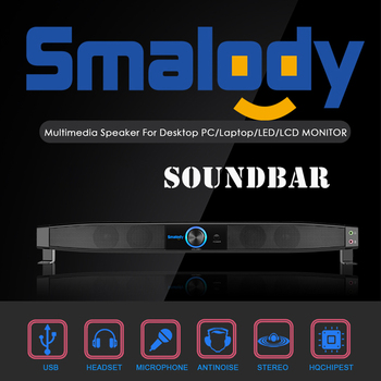 Smalody Soundbar USB Powered Speakers Home Theater 5W Stereo Subwoofer w/ Microphone Support LINE IN Music Play for TV Computer