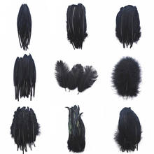 20pcs 13 kinds Black pheasant Rooster chicken Duck feather 8-30cm Turkey/Goose/Ostrich Plumes DIY feathers for crafts needlework(China)