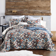 CHAUSUB Bedspreads For Bed Cotton Quilt Set 3PCS Quilts Bohemian Printed Bed Cover Pillowcase King Queen Coverlet Summer Blanket chausub cotton bedspreads quilt set 3pcs embroidered quilts advanced quilted bed cover pillowcase king queen size coverlet