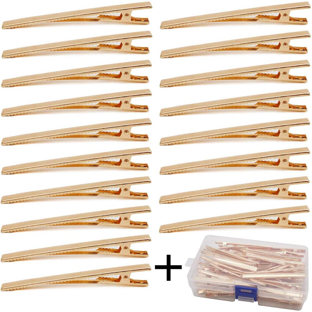 3.15 Inches Gold Alligator Clips For DIY Bows 60 Pieces With Box, Alligator Hair Clips Metal DIY Alligator Teeth Prongs DIY Acci