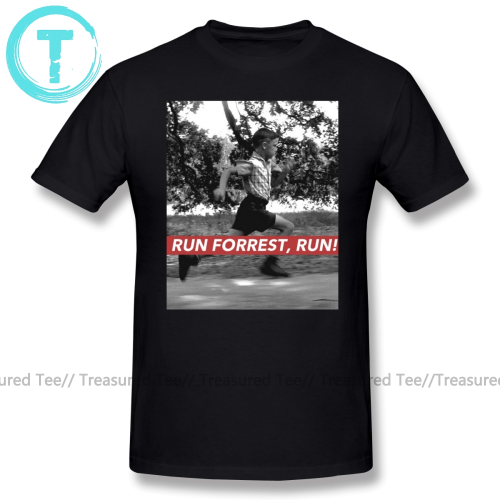 Forrest Gump T Shirt RUN FORREST, RUN T-Shirt Beach Awesome Tee Shirt Short-Sleeve Big Man Graphic Cotton Tshirt