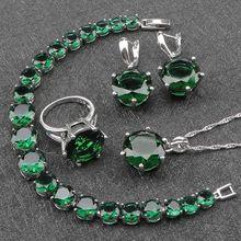 Kobiety zielony cyrkon kostium srebrny 925 zestawy biżuterii kolczyki z kamieniami wisiorek i naszyjnik pierścionki zestaw bransoletek biżuteria pudełko