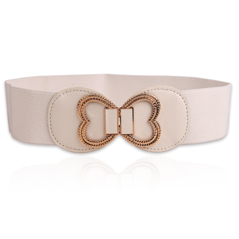 2019 Fashion Metal Love Butterfly Buckle Wide Woman Belt Bow Elastic Decorative Waist Female Thin Skirt Windbreaker Down Belt