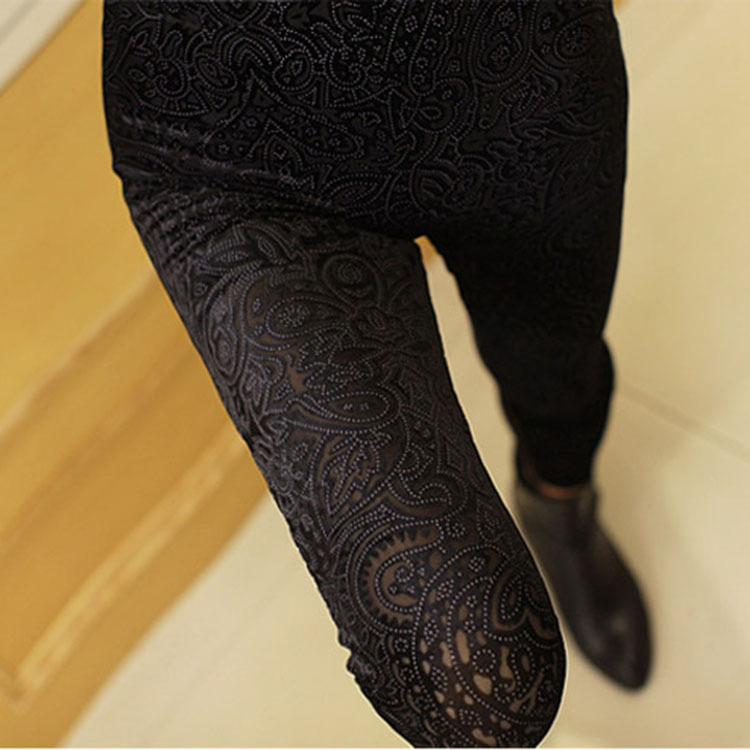 Korean-style Lace Peach Heart Decorative Pattern Leggings Thin Ultra-stretch Slim Fit Slimming Leggings Women's