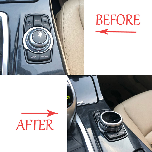 Original Car Multimedia Buttons Cover iDrive Stickers for BMW 1 3 5 7 Series X1 X3 F25 X5 F15 X6 16 F30 F10 F07 E90 F11 E70 E71 3