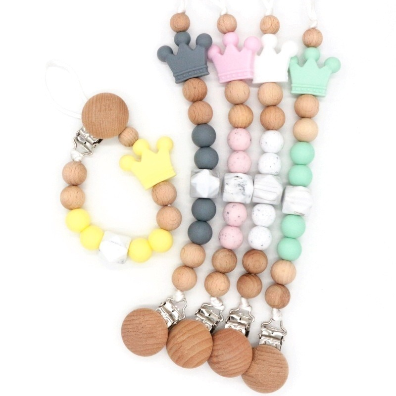 Baby Pacifier Chain Newborn Silicone Wooden Teether Chain Infants Nipple Appease Soother Chain Clips Dummy Holder Baby Bite Bead