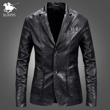 Brand PU Leather Jacket Men Autumn Casual Zipper Mens Motorcycle Leather Jacket Winter Male Slim Fit Coat Plus Size 4XL 2019 цена