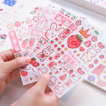 Stickers 4 Sheets/Set Cute Diary DIY Planner Kawaii Sticky Scrapbooking for Girls Decorative Back to School Stationery Supplies - discount item  20% OFF Stationery Sticker
