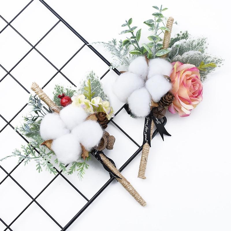 10 Sticks Bundle Dried Flower Cotton Wedding Home Decoration Garland Accessories Artificial Flowers Christmas Flower Arrangement Leather Bag