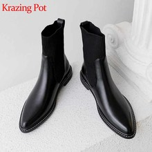 Krazing Pot new cow leather knitting socks boots round toe med heels winter basic daily wear women warm Chelsea ankle boots L9f4