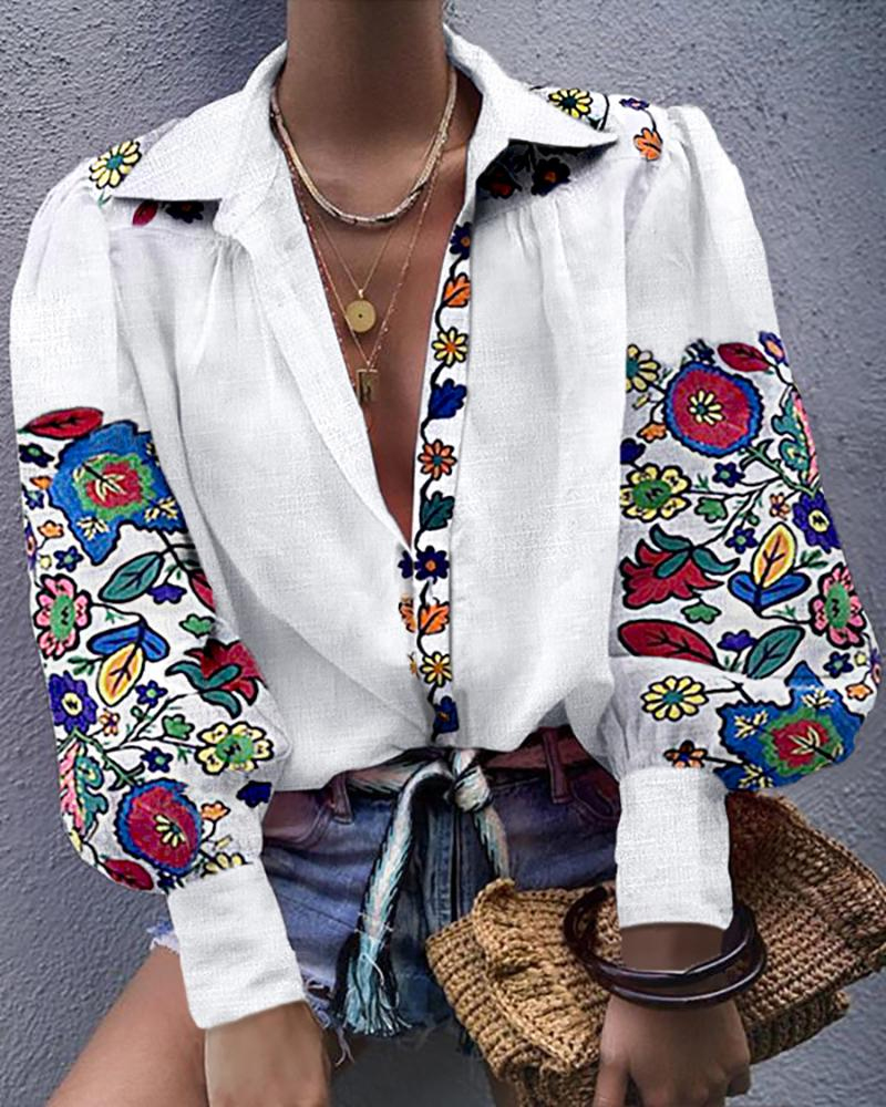 Women White Floral Ethnic Style Embroidered Blouse And Tops Long Sleeve Turn Down Collar Elegant Shirt Blusas Mujer De Moda 2019