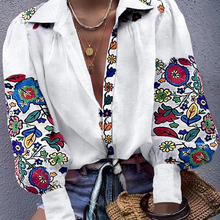 Women White Floral Ethnic style Embroidered Blouse And Tops Long Sleeve Turn Down Collar Elegant