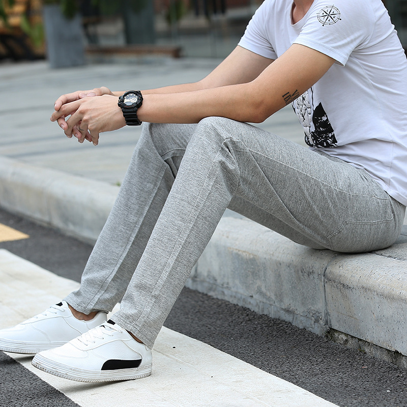 Summer Thin Section Flax Casual Pants Young MEN'S Slim Fit Straight-Cut Long Pants Korean-style Trend Line Men'S Wear