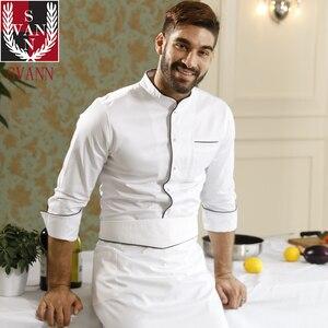 Image 5 - Usługi gastronomiczne wysokiej jakości restauracja kuchnia czystej bawełny z długim rękawem biały top fartuch szefa kuchni do gotowania konkurencji