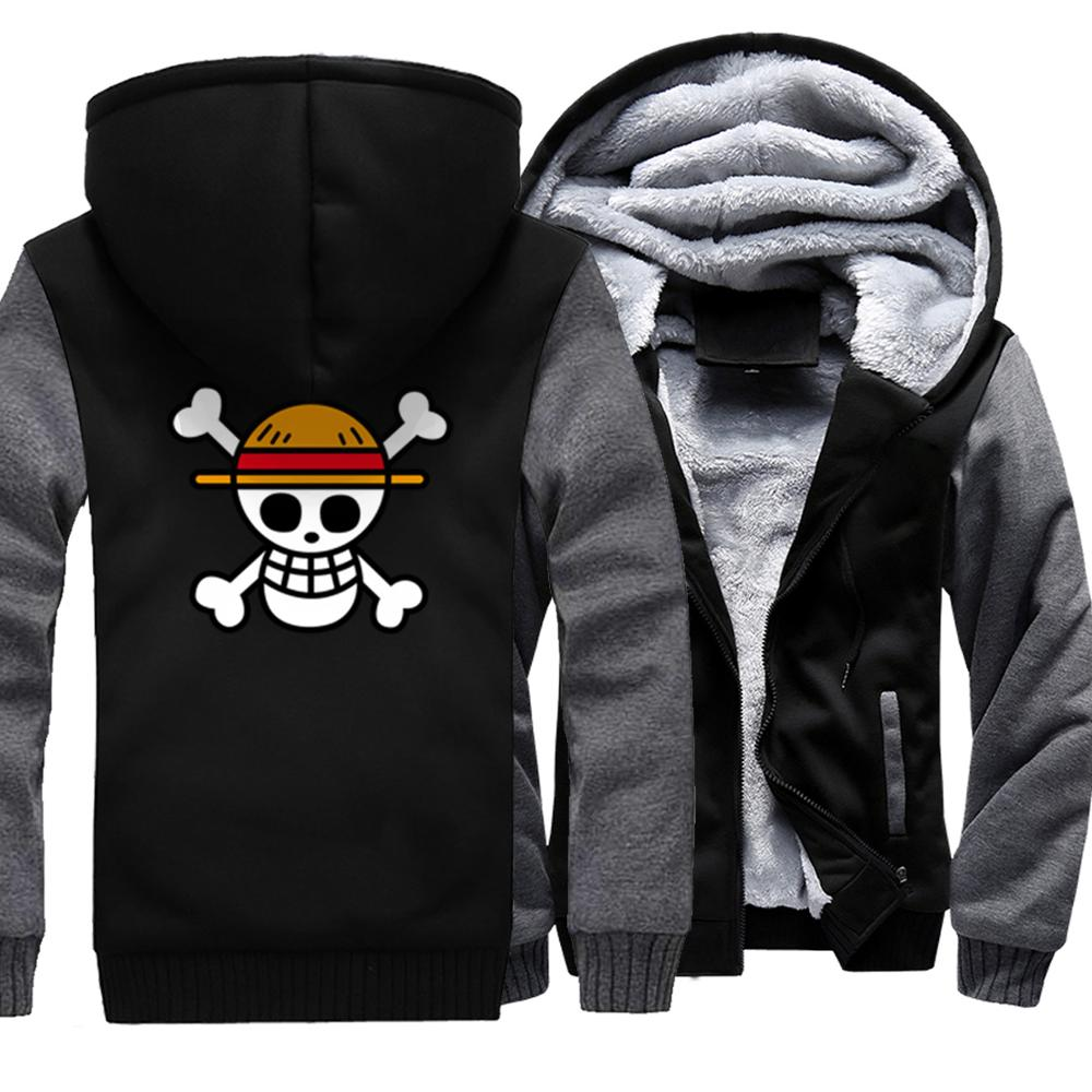 One Piece Luffy Japanese Anime Printed Mens Thicken Hoodies 2019 New Arrival Harajuku Stylish Homme Jackets Hipster Tracksuits