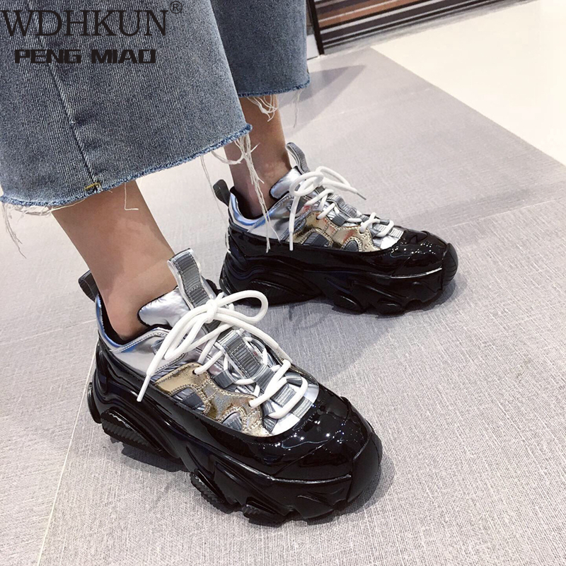 WDHKUN Silver Patent Leather Chunky Sneakers Women 2020 Spring Punk Style High Platform Sneakers Woman Lace Up Casual Shoes Flat