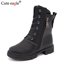 Cute eagle Winter Girls boots New Natural PU Leather Boots For Princess Shoe Fashion warm Rubber outdoor