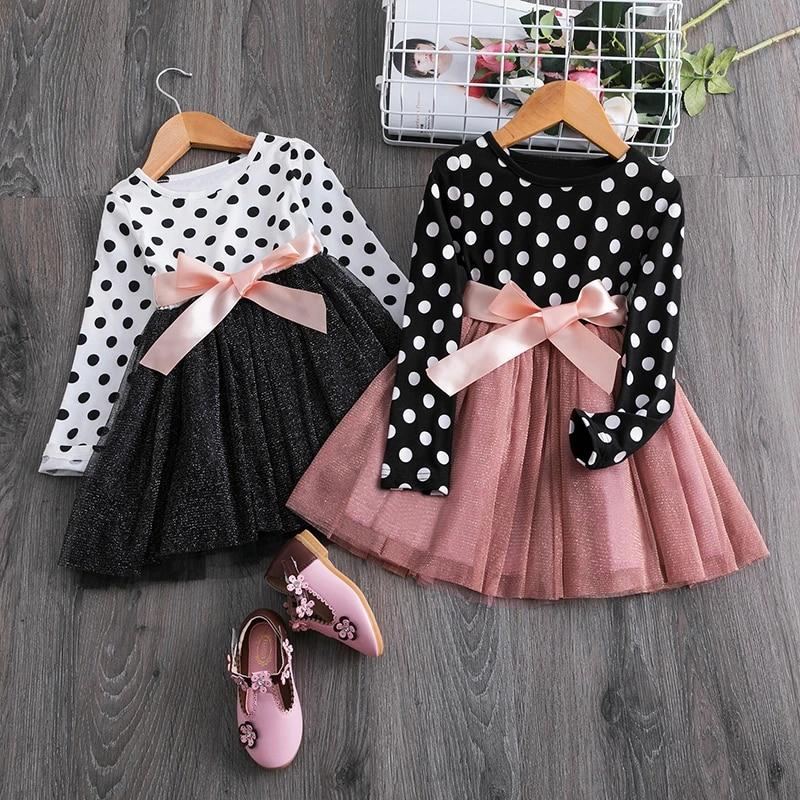 Autumn Long Sleeve Fake 2pcs Dot Print Dresses Kids Girls Cotton Princess Dress