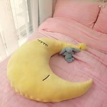 Simanfei Crystal Velvet Pillow Multicolor Cartoon Cute Crescent Shape Soft Back Cushion Kids Room Decoration