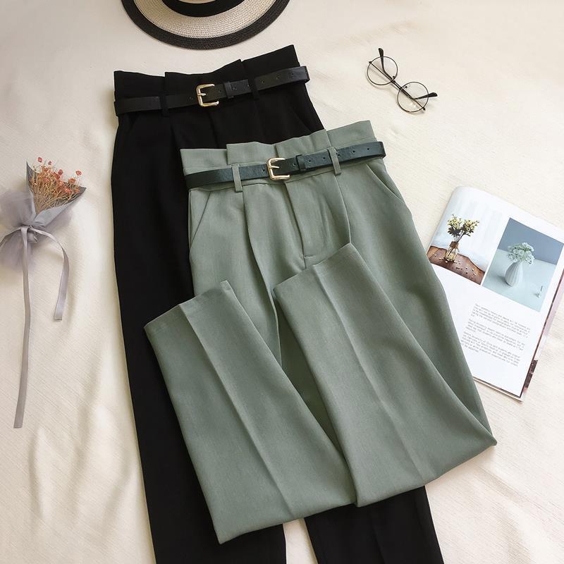 Pantalones de oficina coreanos para mujer, pantalón informal de cintura alta con cinturón, para primavera y otoño