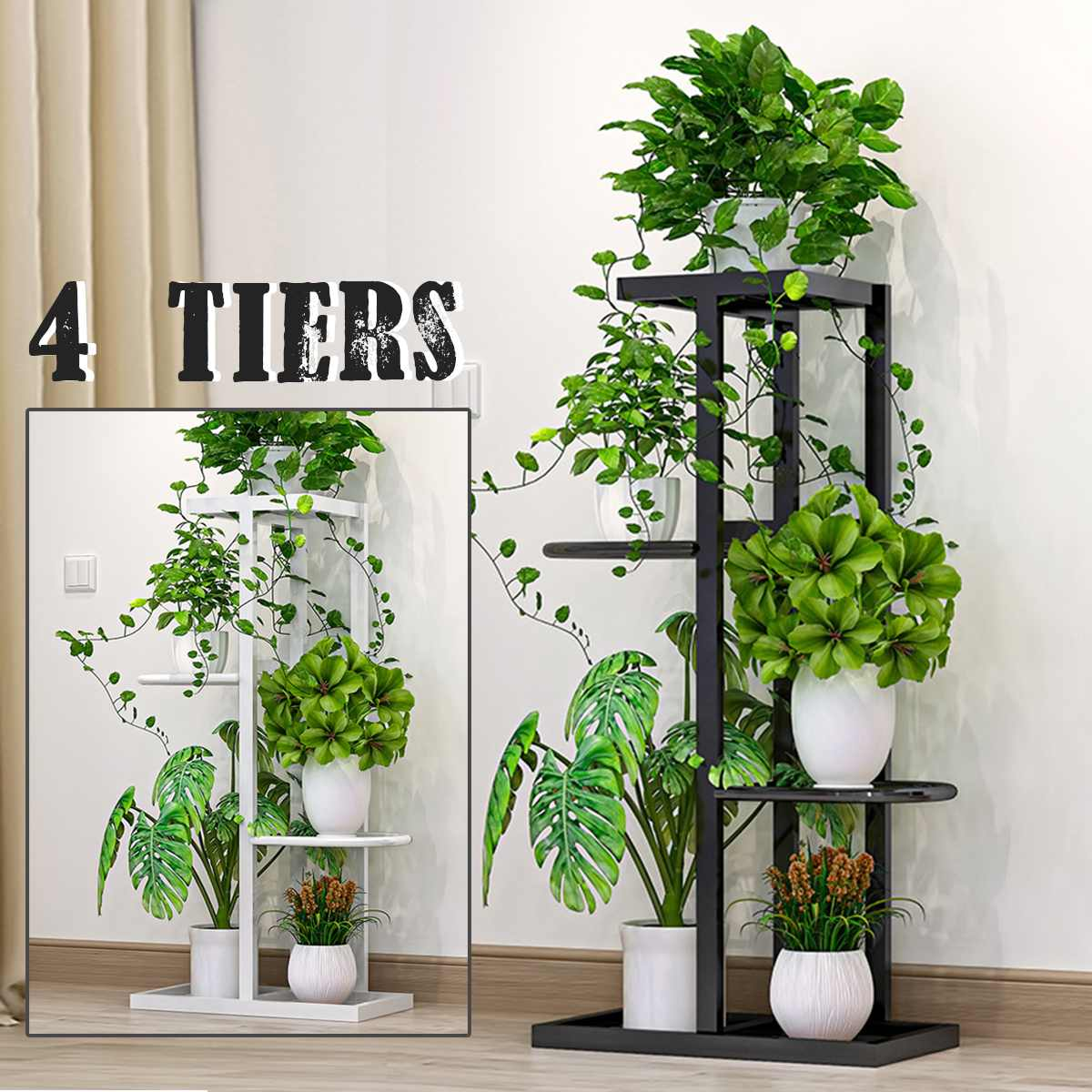 4 Tier Household Wrought Iron Craft Multi-layer Plant Stand With Four Sides of Fence Rack Balcony Indoor Garden Flower Pot Shelf