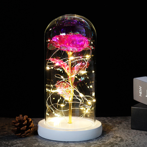 Image 2 - 2019 Beauty and the Beast Red Rose in a Glass Dome on a Wooden Base for Valentines Gifts