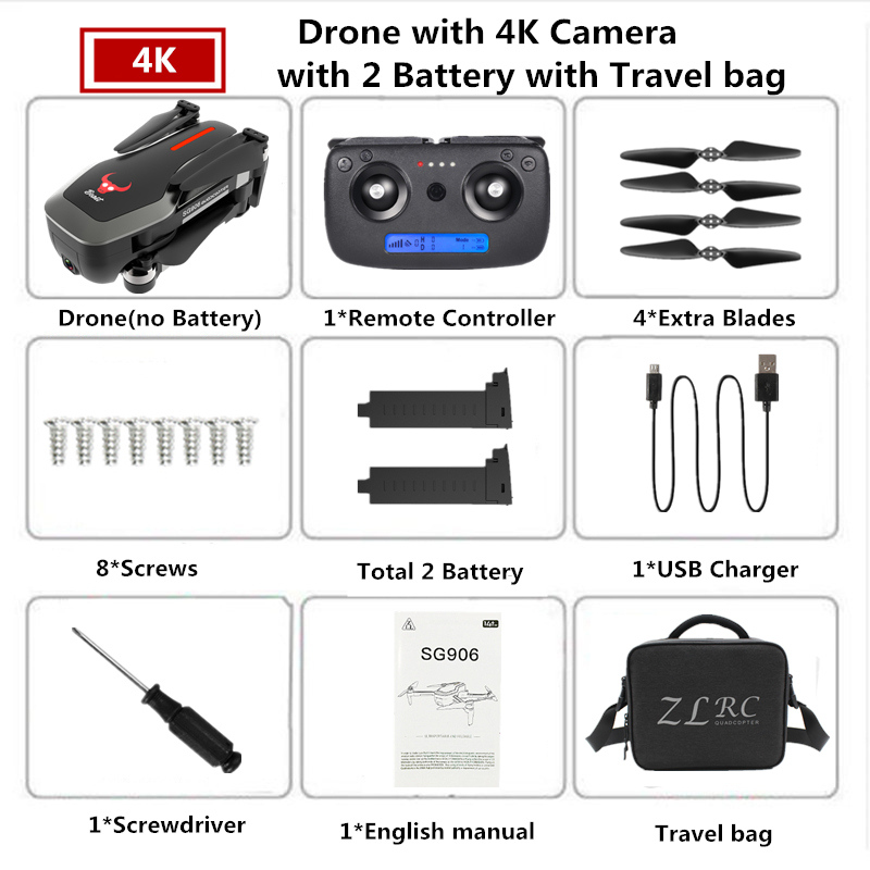 ZLRC SG906 RC GPS Drone 4K Optical Flow Quadrocopter with 5G WIFI Camera Selfie Dron Foldable  Quadcopter VS SJRC F11 PRO X9