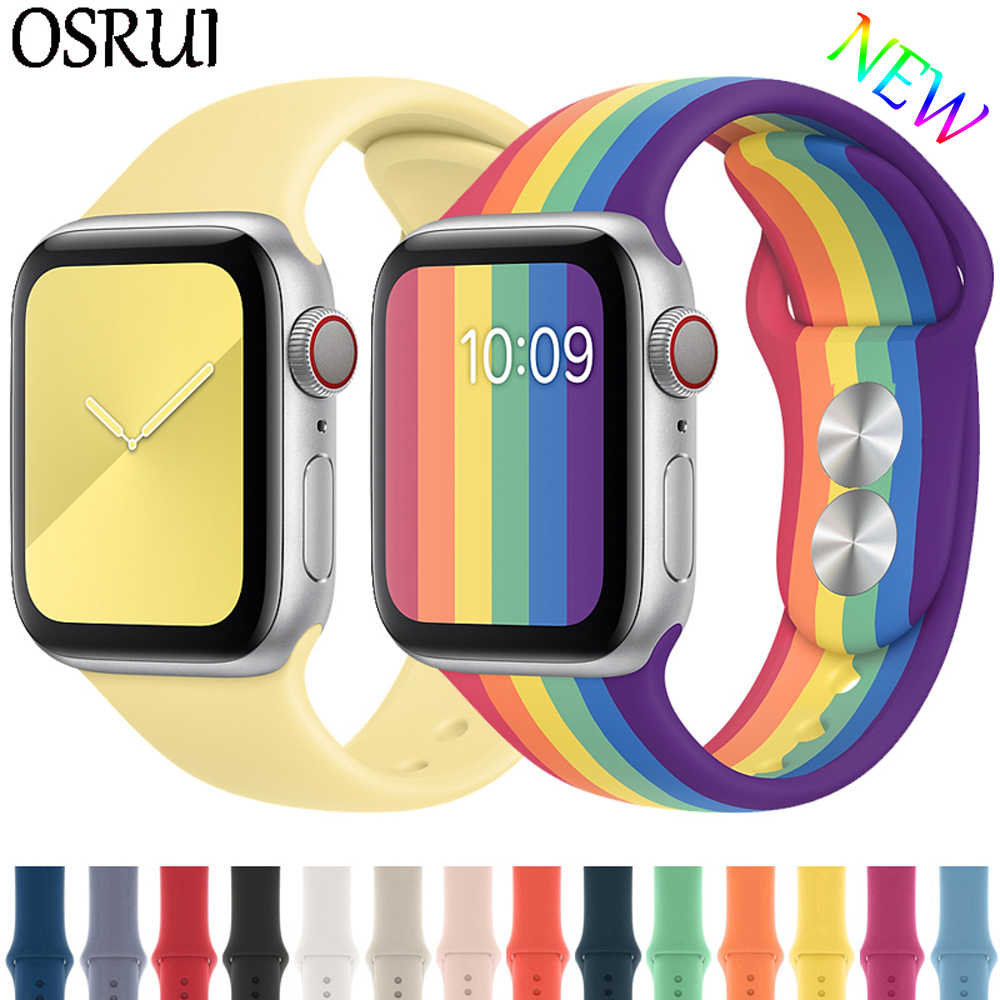 Pasek na pasek do Apple watch 44mm 40mm 42mm 38mm correa iwatch 5 4 3 2 sportowa silikonowa bransoletka pulseira zegarka Apple watch 4 akcesoria