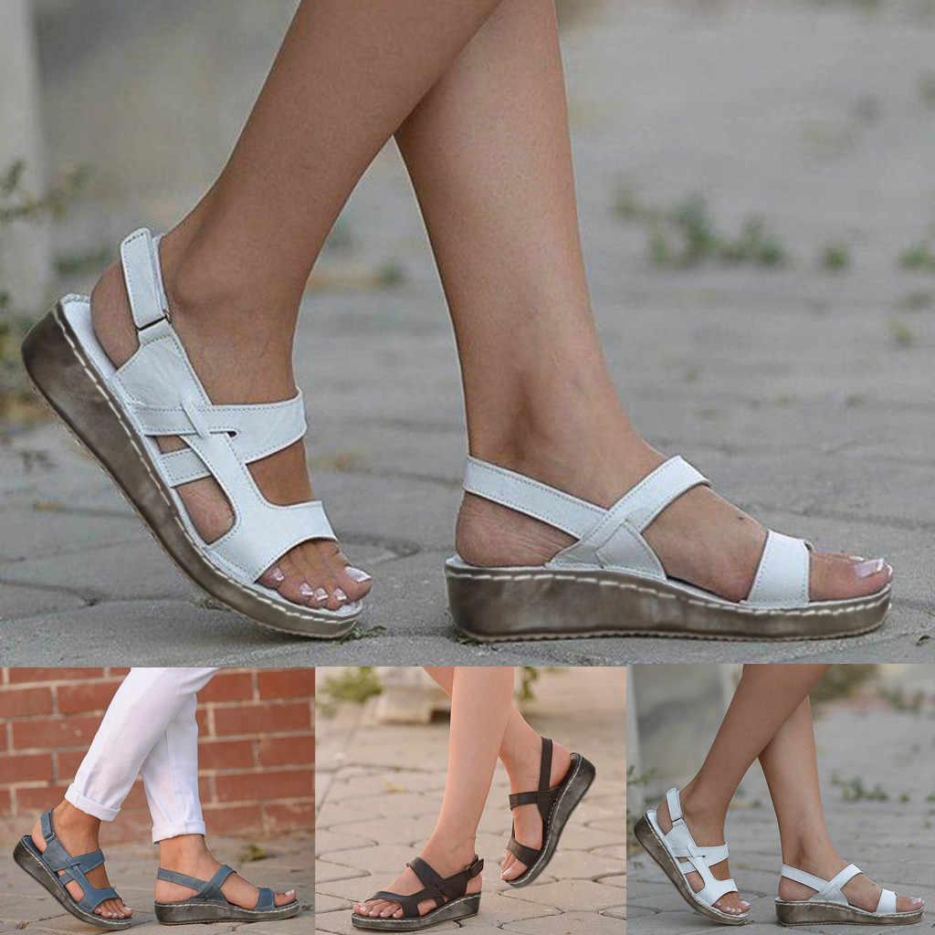 Mode warm Halten Mode 2019 Shop frauen Damen Sommer Aushöhlen Keil Schnalle Sandalen Casual Schuhe sandalia feminina #11035