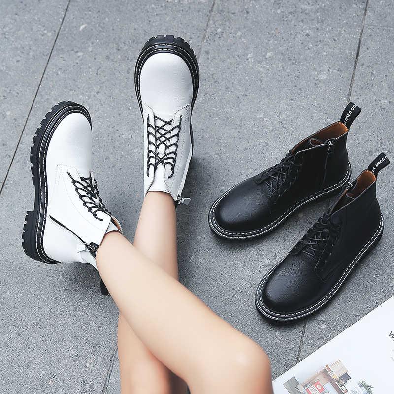 Altın fidan platformu çizmeler kadın açık taktik ayakkabı beyaz hakiki deri klasik kama Sneakers kadın Trekking botları