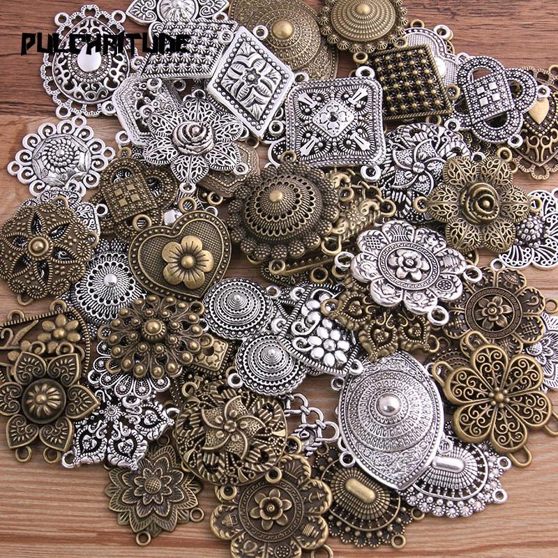 PULCHRITUDE Random 6 Pcs Mix 31 Styles Two Color Zinc Alloy Retro Pendants Connectors Linker For DIY Charm Jewelry Accessorie|Charms| - AliExpress