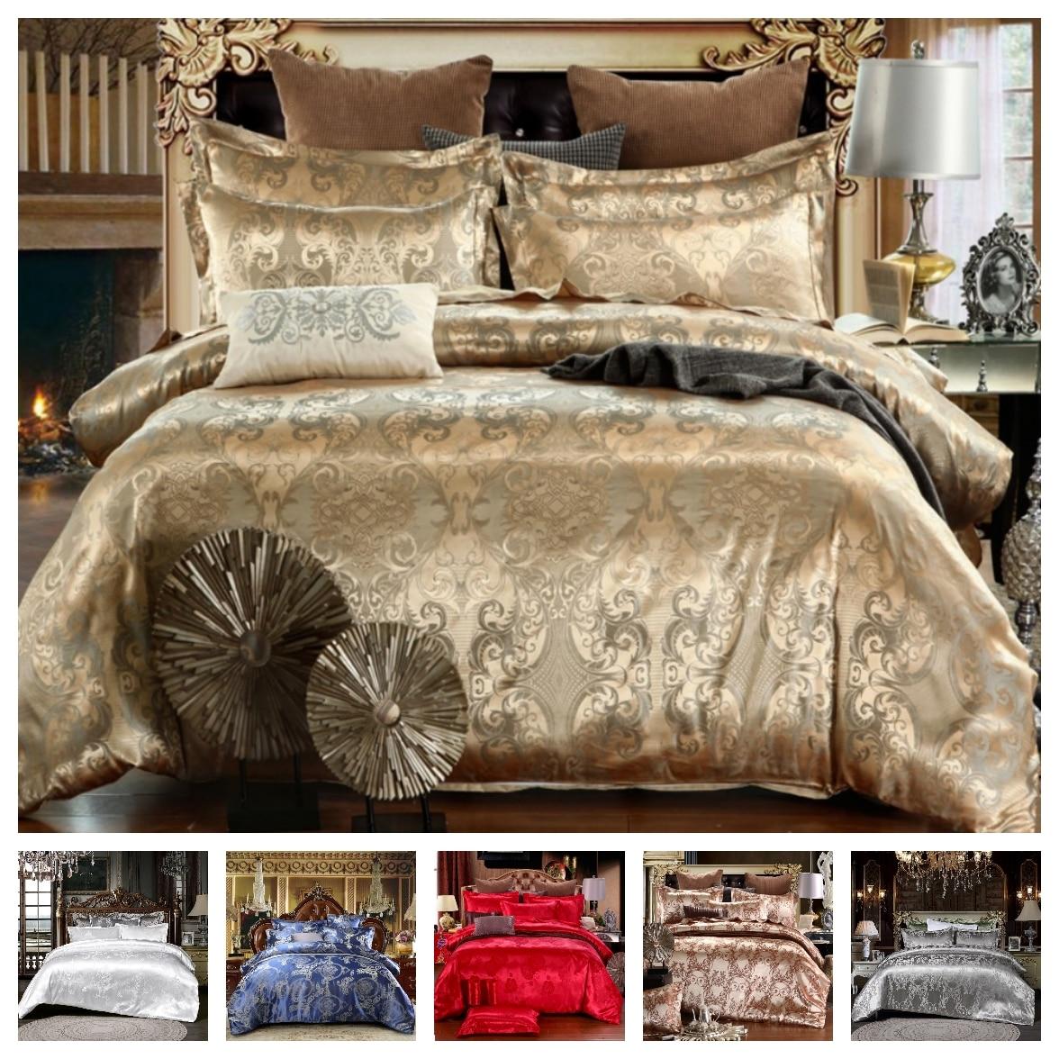 Luxury 2/3pcs Bedding Set Satin Jacquard Duvet Cover Sets 1 Quilt Cover + 1/2 Pillowcases US/EU Size Single Twin Full Queen King