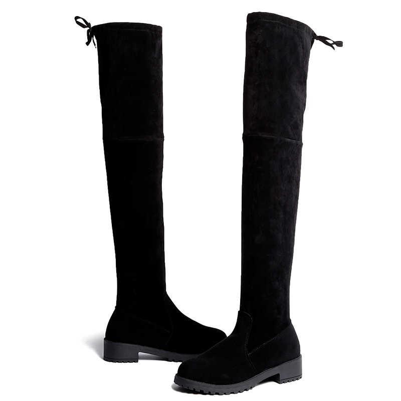 Nieuwe Sexy Winter Over De Knie Laarzen Vrouwen Stretch Stof Dij Hoge Vrouw Schoenen Lange Bota Feminina Zapatos De Mujer maat 35-41