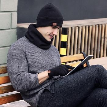 Men's Beanie Hat Scarf Gloves Set Winter Knitted Thick Warm Cap Women Men Solid Retro Beanie Hat Soft Touch Screen Glove Hat Set men s winter thick warm cable knit beanie hat 100% handmade cap
