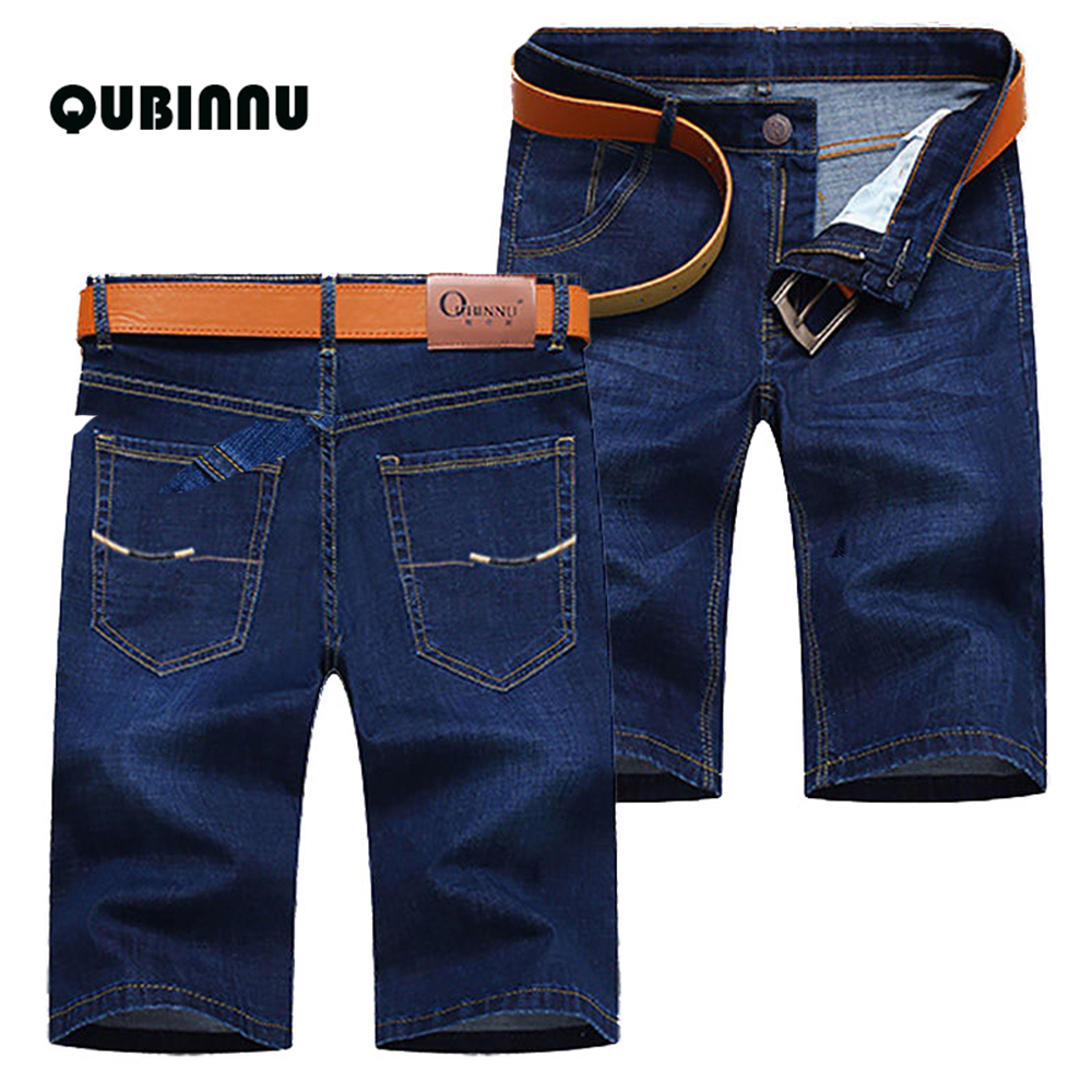 New 2019 Summer Men Business Casual Denim Shorts Fashion Stretch Slim Straight Thin Blue Cotton Short Jeans Male Brand Clothes