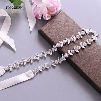 TOPQUEEN S440 cinturones de diamantes de imitación para vestidos de novia Cinturón fino de diamantes de imitación para niñas barato con cuentas cinturón nupcial cinturón Sash