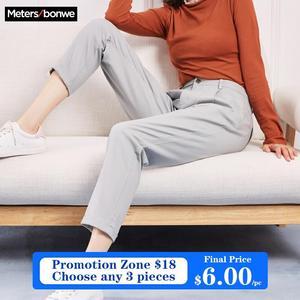 Image 1 - Metersbonwe Casual pantalones harem para las mujeres pantalones, Pantalones de mujer de alta calidad cintura elástica Oficina dama pantalones 753524