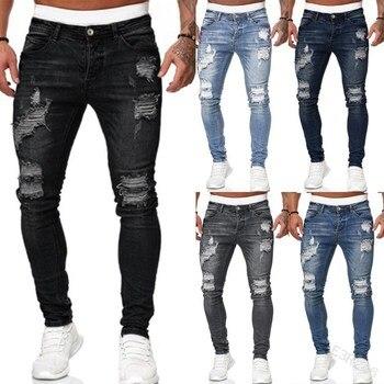 5 Style Jeans Men Skinny Denim Pant Male Ripped Pants Streetwear Male Denim Jeans Blue Grey Pencil Trousers Size S-4XL 1