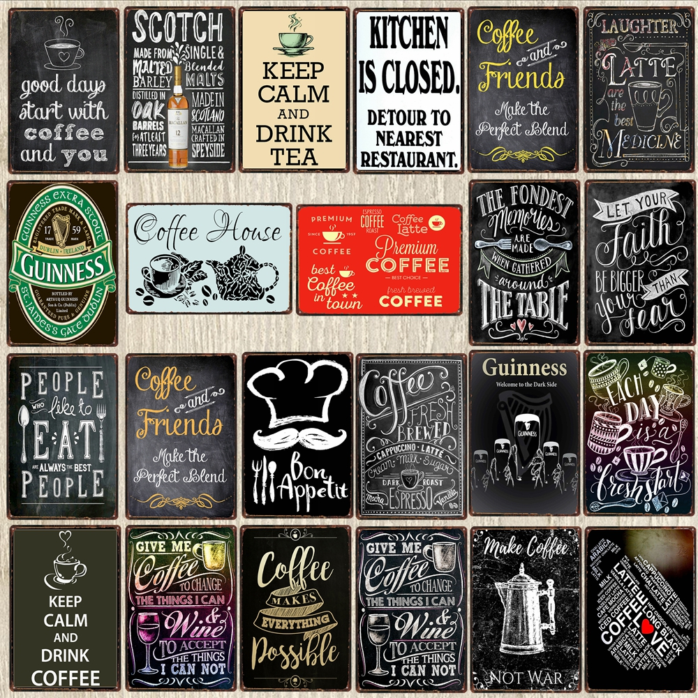 Vintage Style Metal Signs:  Chalkboard Kitchen Wall Art & Home Bar Decor