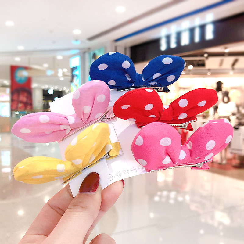2020 New Children Cute Candy Soft Dot Bow Ornament Hair Clips Girls Lovely Alloy Barrettes Hairpins Kids Sweet Hair Accessories