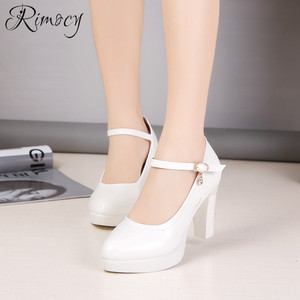 Image 2 - Rimocy high heels platform pumps mujer 2019 spring new fashion buckle solid black shoes woman PU leather waterproof shoes femme