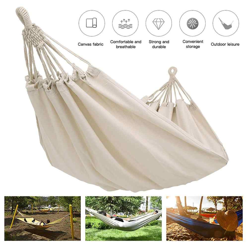 Double Camping Fabric Canvas Hammock Hanging Swing Bed Chair for Patio Travel