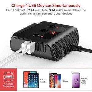 Image 4 - Sigarettenaansteker Splitter 4 USB Charger Adapter 3.6A 100W LED Voltage Detectie met Schakelaar Voor Mobiele Telefoon MP3 DVR